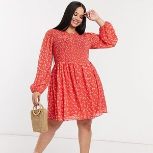ASOS Curve Shirred Mini Smock Dress in Red Floral